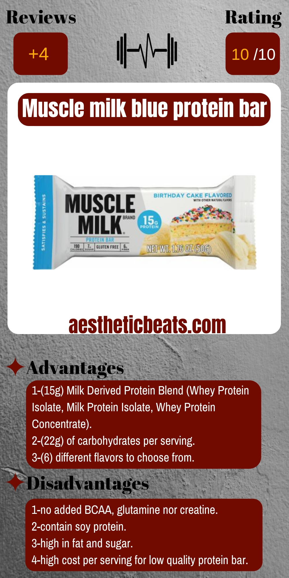 Muscle Milk Blue Protein Bar Supplement Review